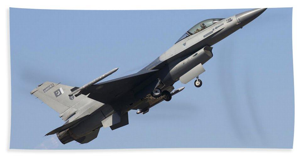 Military Beach Towel featuring the photograph A Pakistan Air Force F-16a Block 15 by Daniele Faccioli