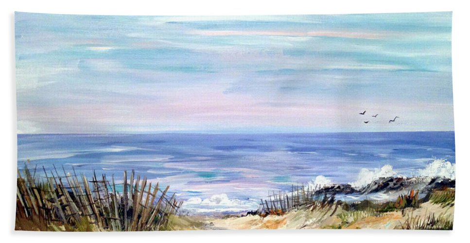 Beach Painting Beach Towel featuring the painting Where The Waves Are by Dorothy Maier