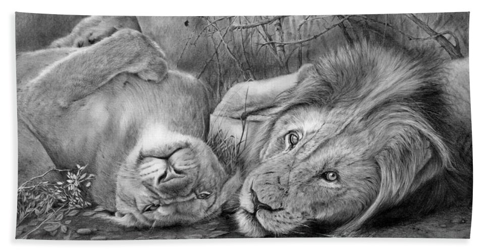 Lion Beach Towel featuring the drawing A Place O Be Free by Peter Williams
