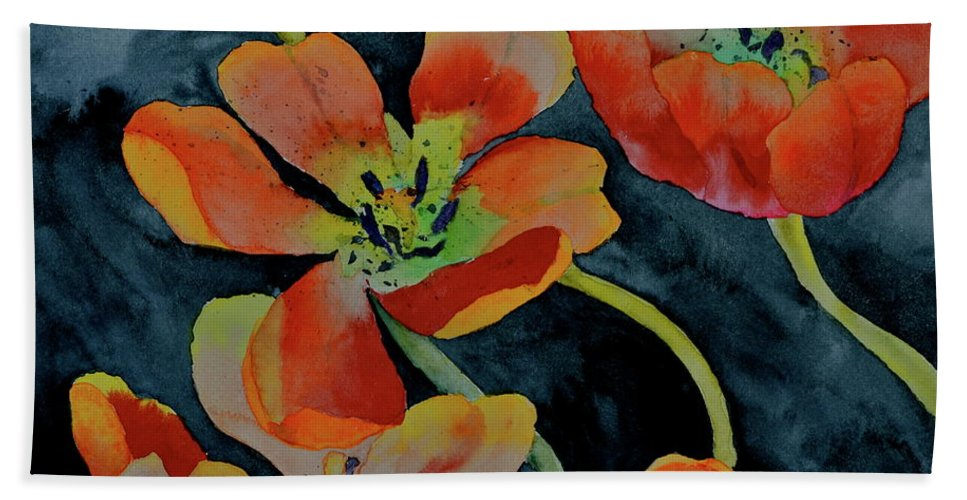 Tulips Beach Towel featuring the painting A Place To Start by Beverley Harper Tinsley