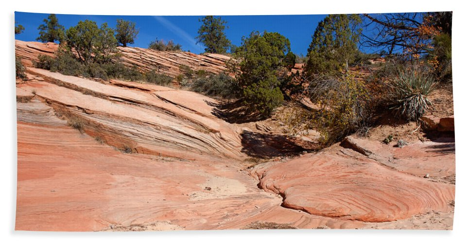 Landscape Beach Towel featuring the photograph A Pool Of Rock by John M Bailey