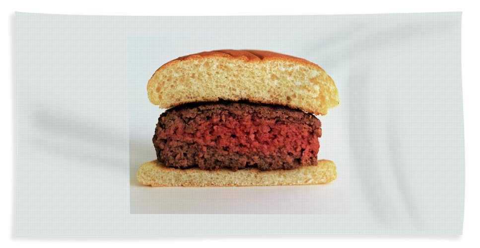 Cooking Beach Towel featuring the photograph A Rare Hamburger by Romulo Yanes
