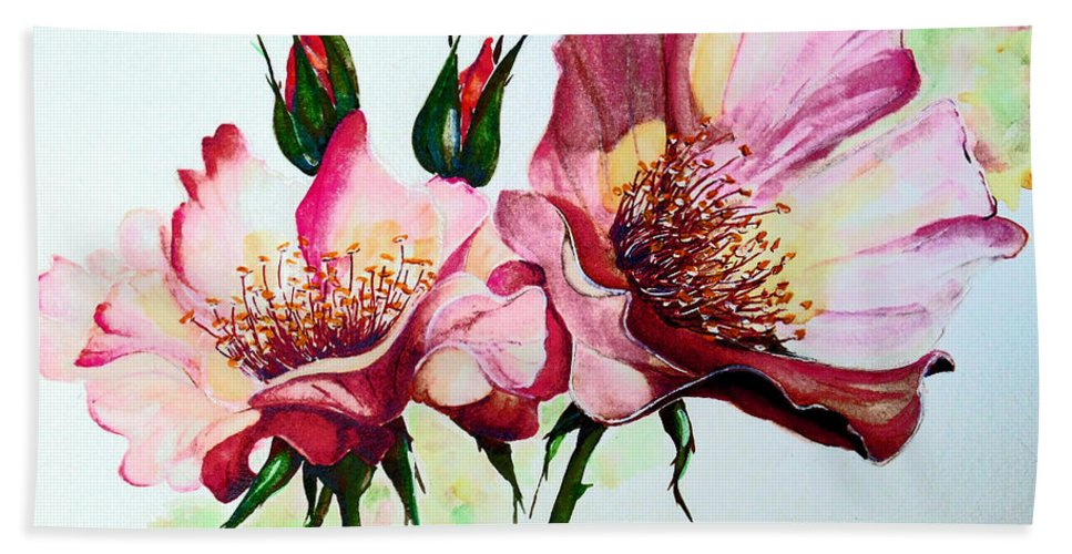 Flower Painting Beach Sheet featuring the painting A Rose Is A Rose by Karin Dawn Kelshall- Best