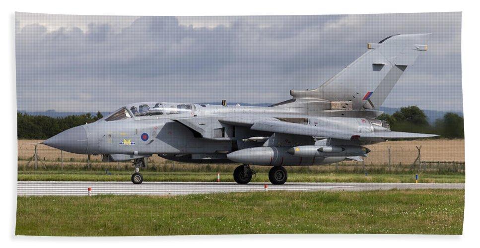 Military Beach Towel featuring the photograph A Royal Air Force Tornado Gr4 Preparing by Daniele Faccioli