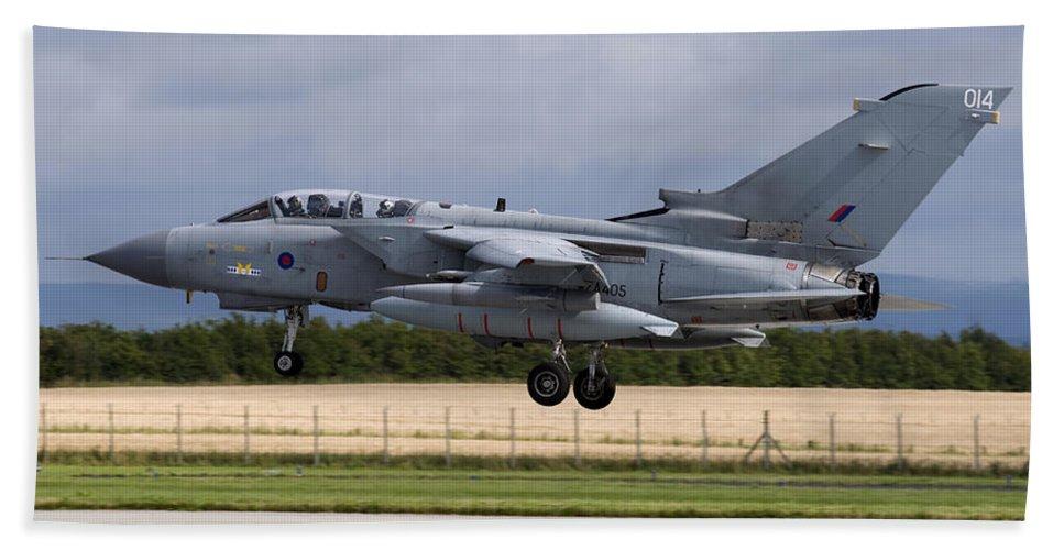 Military Beach Towel featuring the photograph A Royal Air Force Tornado Gr4a Landing by Daniele Faccioli