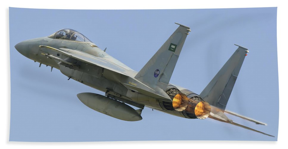 Horizontal Beach Towel featuring the photograph A Royal Saudi Air Force F-15c by Giovanni Colla