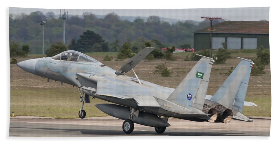 Horizontal Beach Towel featuring the photograph A Royal Saudi Air Force F-15c Landing by Giovanni Colla