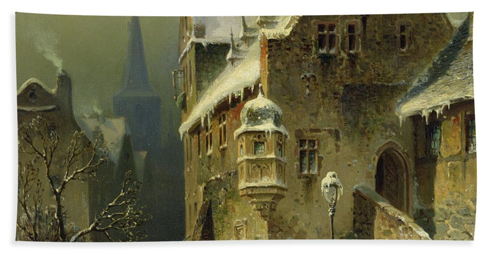 Schlieker Beach Towel featuring the painting A Small Town in the Rhine by August Schlieker