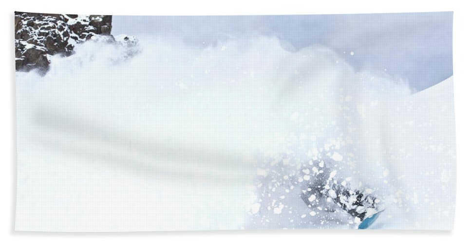 Color Image Beach Towel featuring the photograph A Snowboarder Rides Through A Cloud by Rob Hammer