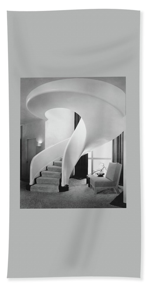 Interior Beach Towel featuring the photograph A Spiral Staircase by Hedrich-Blessing