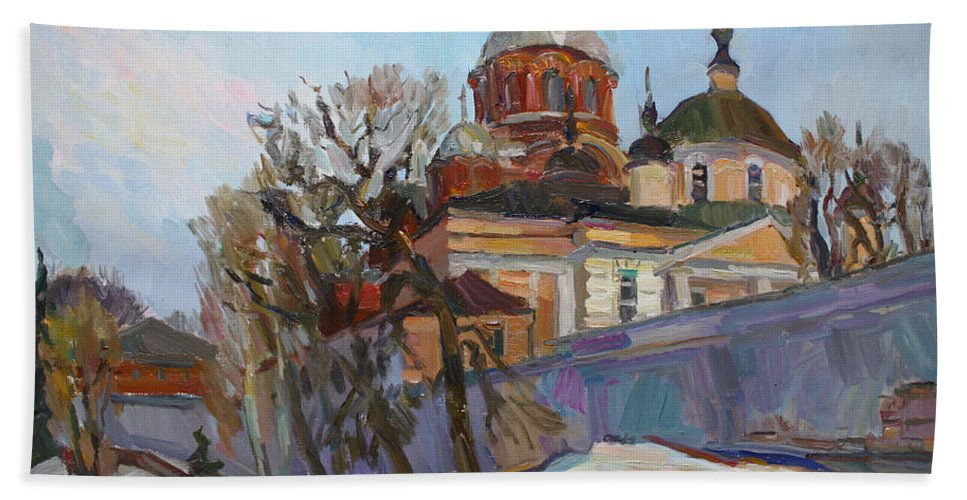 Monastery Beach Towel featuring the painting A Spring Message by Juliya Zhukova