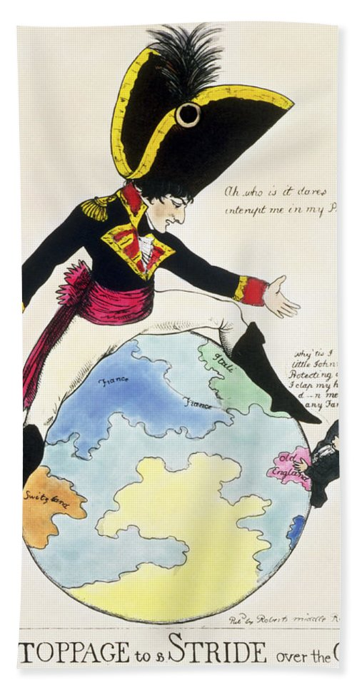 Napoleon Bonaparte Beach Towel featuring the photograph A Stoppage To A Stride Over The Globe, 1803 Litho by English School