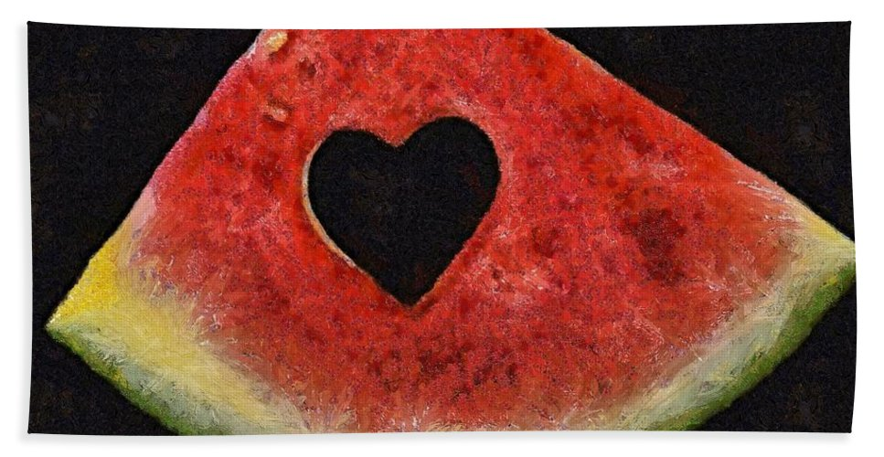 Valentine's Day Beach Towel featuring the painting A Summer Valentine's Day by Dragica Micki Fortuna
