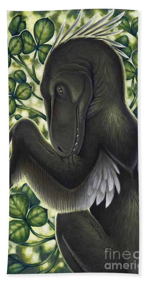 Illustration Technique Beach Towel featuring the digital art A Suspicious Deinonychus Antirrhopus by H. Kyoht Luterman