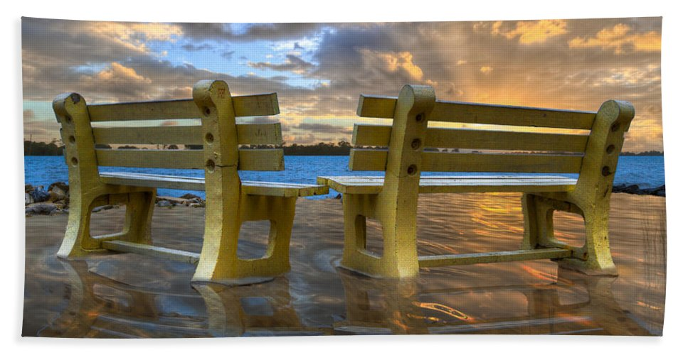 Clouds Beach Towel featuring the photograph A Time For Reflection by Debra and Dave Vanderlaan