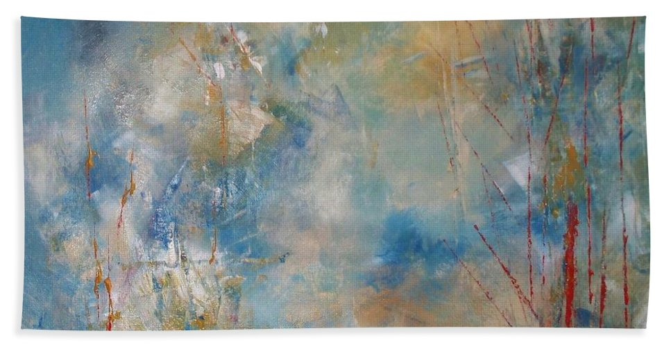 Abstract Beach Towel featuring the painting A Touch Of Red by Robin Monroe