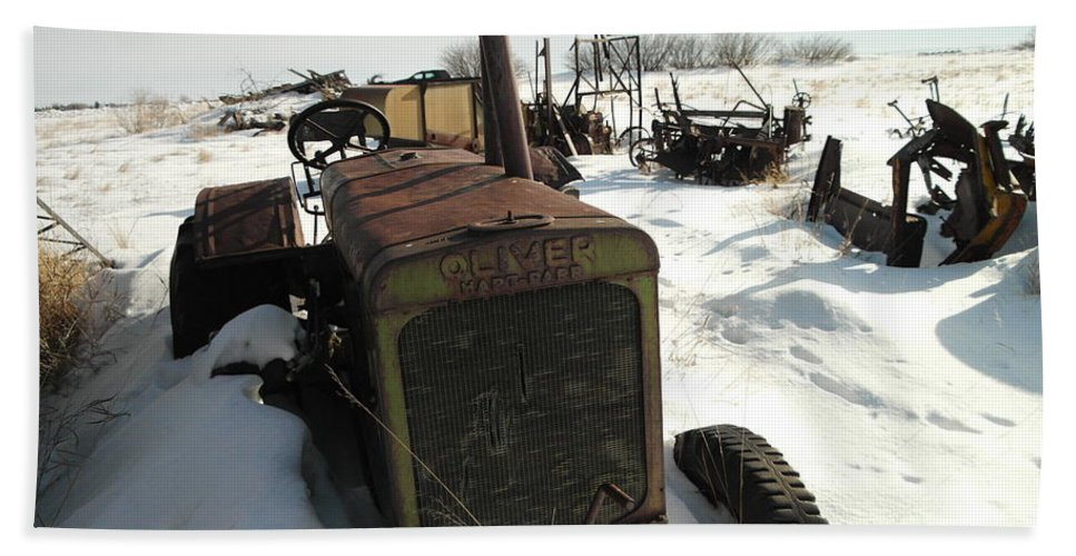 Tractors Beach Towel featuring the photograph A Tractor In The Snow by Jeff Swan