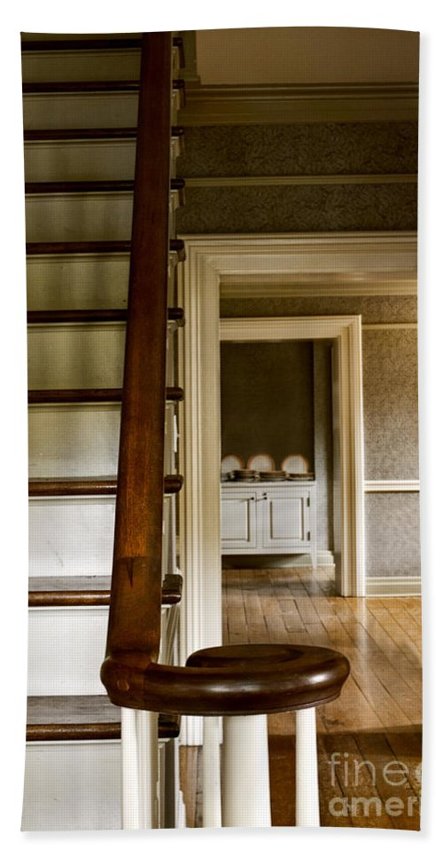 Stairs; Staircase; Wooden; Interior; Inside; Indoors; Two Story; Hall; Hallway; Foyer; Rooms; Kitchen; Dining Room; Plates; Service; Butler Pantry; Cabinet; Distance; Doorways; Trim Beach Towel featuring the photograph A View Down The Hall by Margie Hurwich