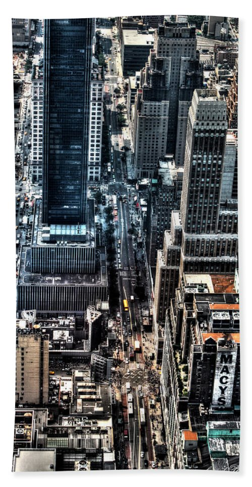 Empire Beach Towel featuring the photograph A View From The Empire State Building by Debra Forand