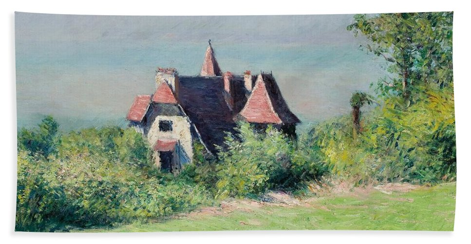 Impressionist; Landscape; Rural; Countryside; France; French; En Plein Air; Plein Air; Villa; Trouville; Resort; Holiday; Vacation; Coast; Coastal; Seaside; House; Home; Impressionism; Gustave; Caillebotte; Fresh Air; Relax; Tranquil; Tranquility; Serene; Serenity; Calm; Peaceful; Break; Country; Field; Grass; Nature; Idyllic; Natural; Rustic; Quaint; Escape; Safe Haven; Refuge; Peace Of Mind; Halcyon; One With Nature; Garden; Sky; Blue; Green; Greenery; Brick Red; Homely; Quotidian; Normality Beach Towel featuring the painting A Villa At Trouville by Gustave Caillebotte