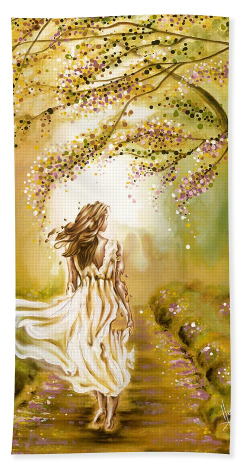 Karina Llergo Beach Towel featuring the painting A Walk In The Park by Karina Llergo