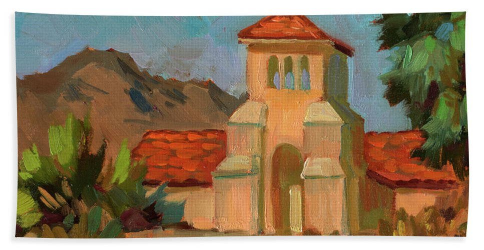 Warm Day Beach Towel featuring the painting A Warm Day At Borrego Springs Lutheran by Diane McClary