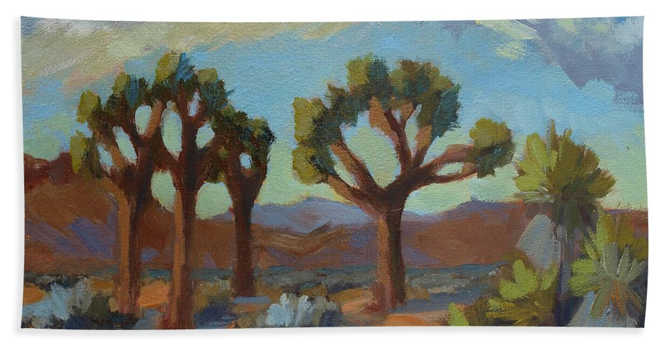 A Warm Morning Beach Towel featuring the painting A Warm Morning At Joshua 2 by Diane McClary