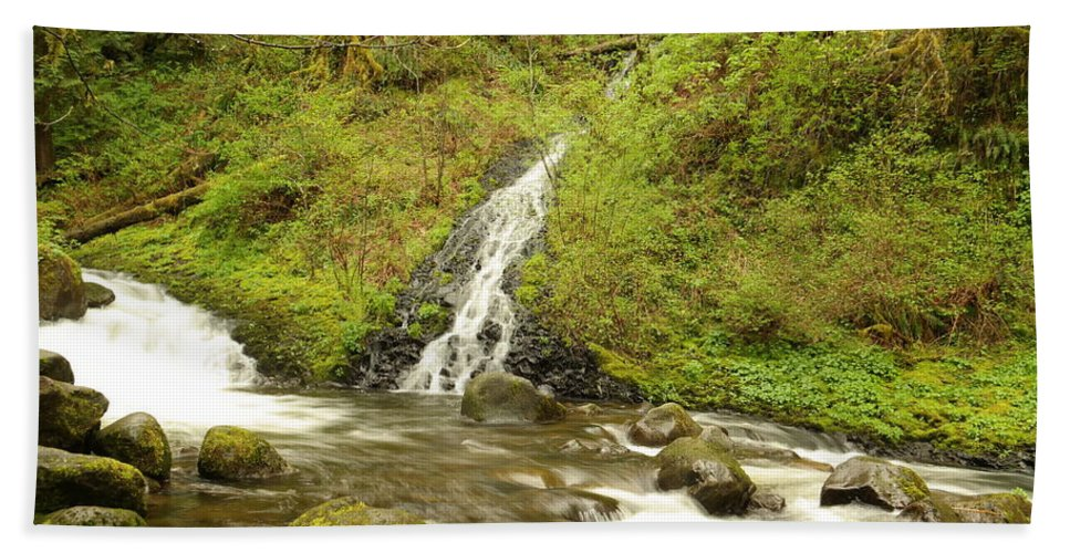 Oneida Beach Towel featuring the photograph A Waterfall Into Oneida Creek by Jeff Swan