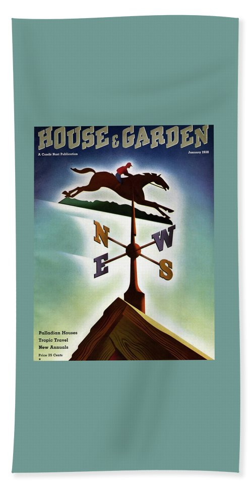 House And Garden Beach Sheet featuring the photograph A Weathervane With A Racehorse by Joseph Binder