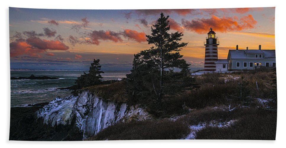 Winter Dusk Beach Towel featuring the photograph A Winter Dusk At West Quoddy by Marty Saccone