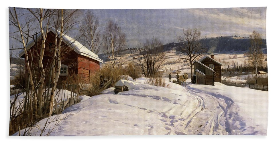 1922 Beach Towel featuring the painting A Winter Landscape Lillehammer by Peder Monsted