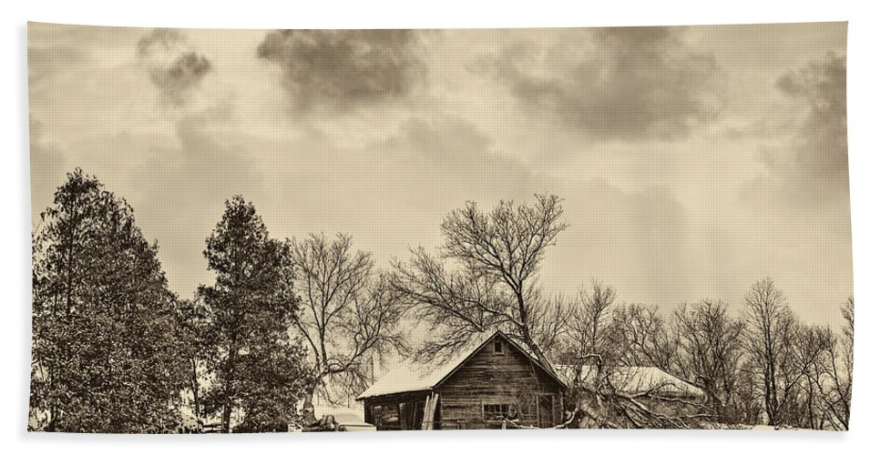 Winter Beach Towel featuring the photograph A Winter Sky Sepia by Steve Harrington