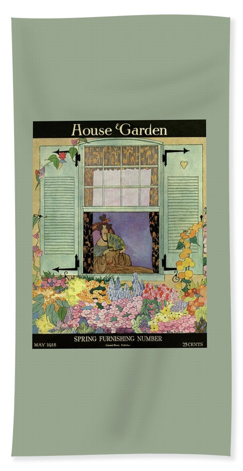 House And Garden Beach Towel featuring the photograph A Woman With A Fan by Helen Dryden