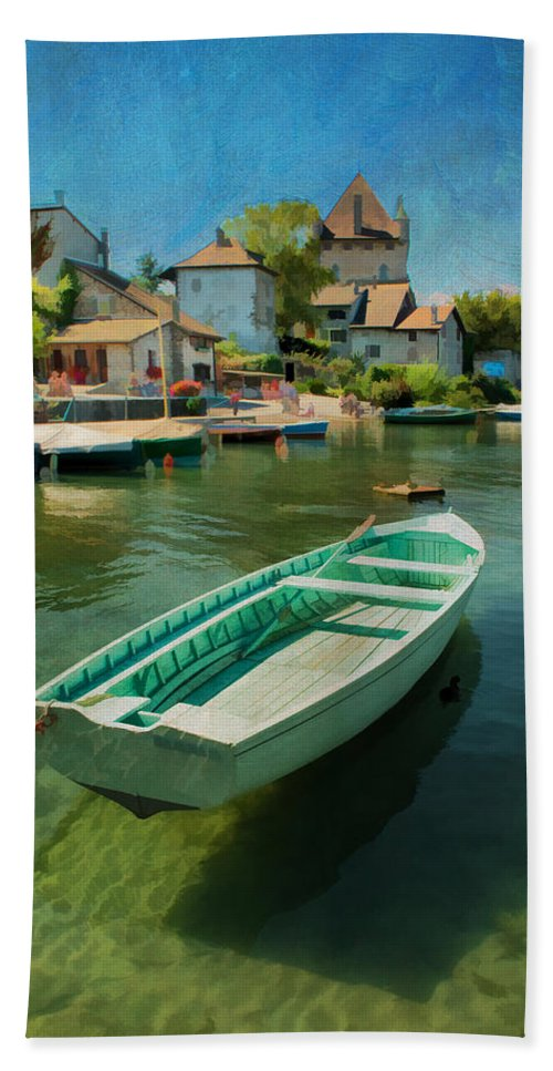 Boat Beach Towel featuring the photograph A Yvoire - France by Jean-Pierre Ducondi