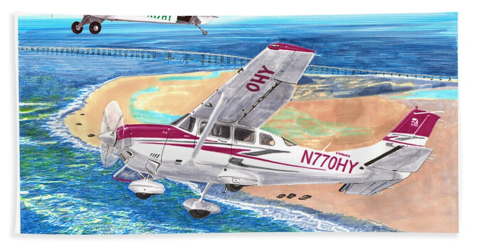 Watercolor Painting Of 2007 Cessna 206 And A1a Aviat Husky By Jack Pumphrey Beach Towel featuring the painting Cessna 206 And A1a Husky by Jack Pumphrey