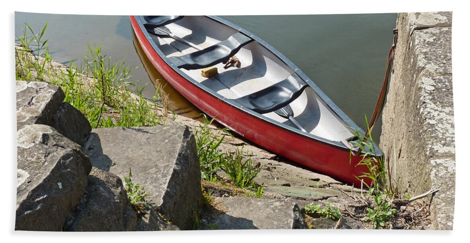 Abandoned Beach Towel featuring the photograph Abandoned Boat At The Quay by Eva-Maria Di Bella