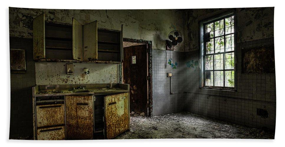 Abandoned Building Old Asylum Open Cabinet Doors Beach Towel