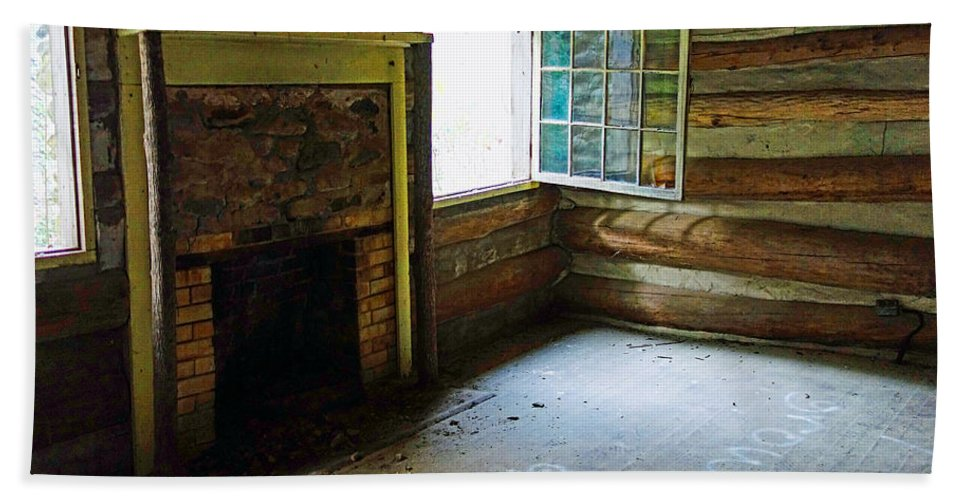 Abandoned Log Cabin Elkmont Old House Window Fireplace Beach Towel