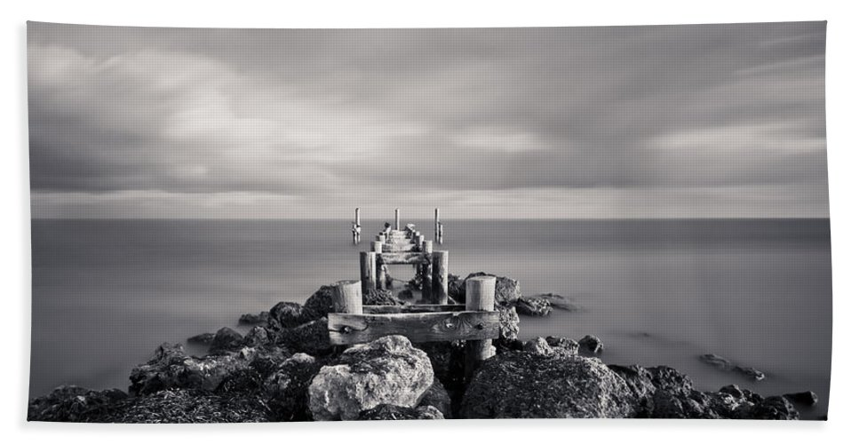 3scape Photos Beach Towel featuring the photograph Abandoned Pier by Adam Romanowicz