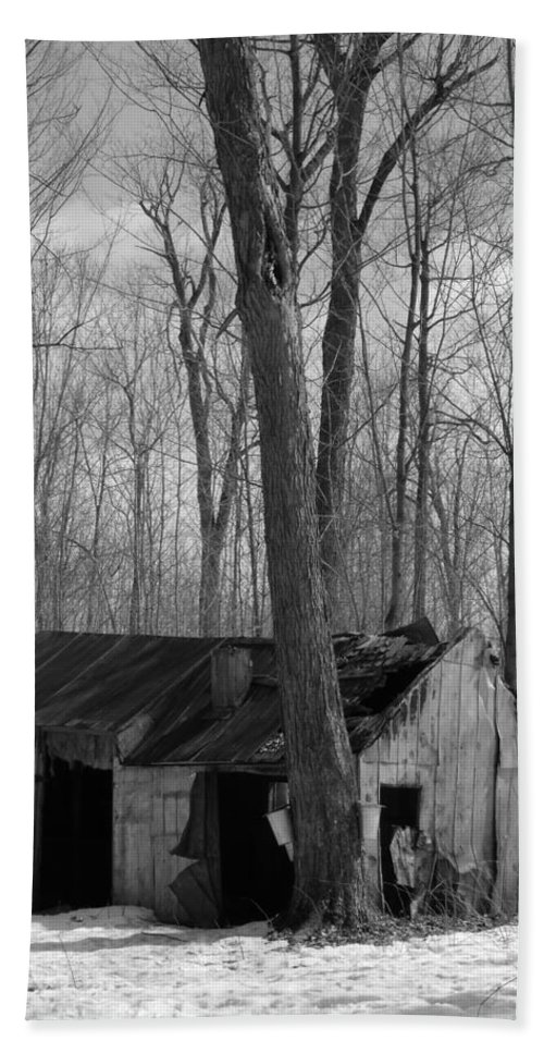 Snow Beach Towel featuring the photograph Abandoned Sugar Shack In Black And White by Dominic Labbe