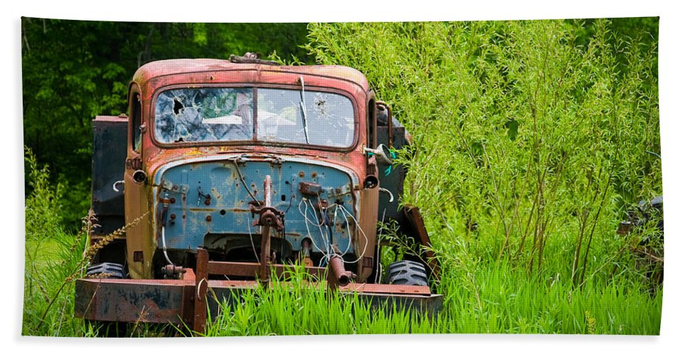 3scape Photos Beach Towel featuring the photograph Abandoned Truck In Rural Michigan by Adam Romanowicz