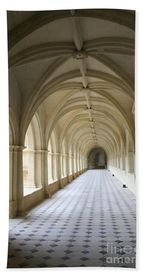 Cloister Beach Towel featuring the photograph Abbaye De Frontevraud Cross Coat by Christiane Schulze Art And Photography