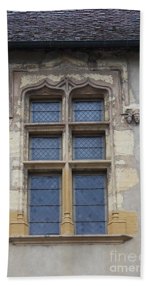 Palace Beach Towel featuring the photograph Abbot Palace Window - Cluny - Burgundy by Christiane Schulze Art And Photography