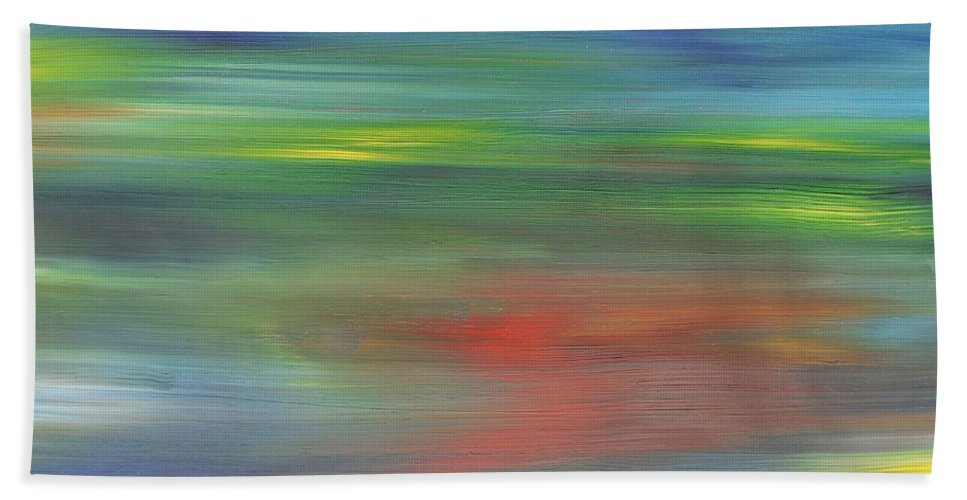 Abstract Beach Towel featuring the painting Abstract 421 by Patrick J Murphy