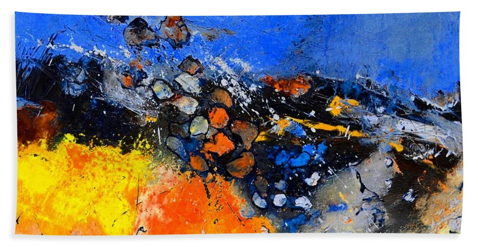 Abstract Beach Towel featuring the painting Abstract 88411133 by Pol Ledent