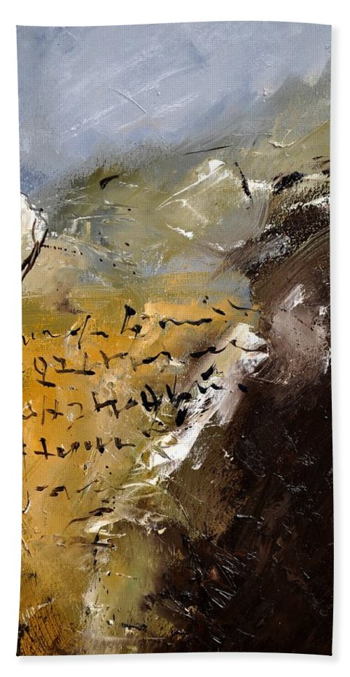 Abstract Beach Towel featuring the painting Abstract 96688 by Pol Ledent