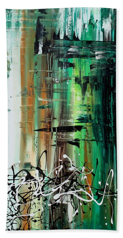 Wall Beach Towel featuring the painting Abstract Art Colorful Original Painting Green Valley By Madart by Megan Duncanson