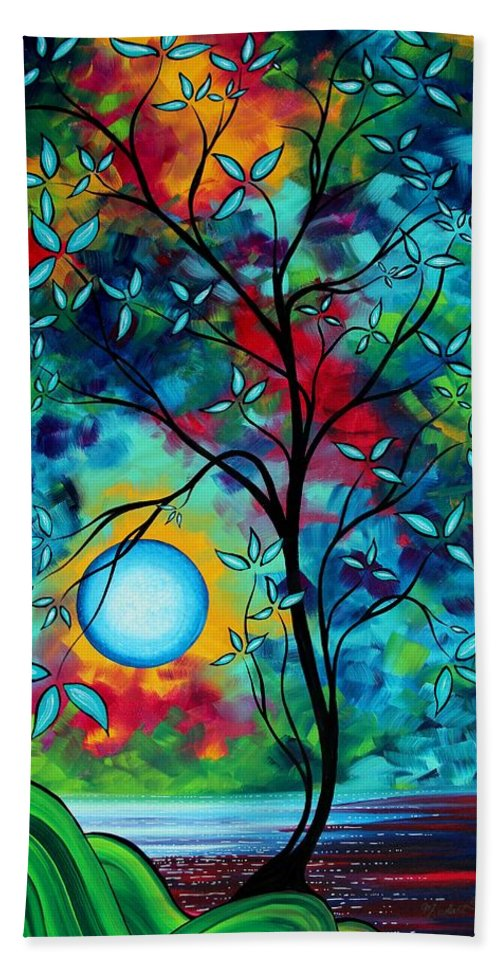 Art Beach Towel featuring the painting Abstract Art Landscape Tree Blossoms Sea Painting Under The Light Of The Moon I By Madart by Megan Duncanson