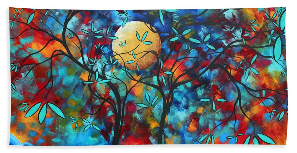 Abstract Beach Towel featuring the painting Abstract Contemporary Colorful Landscape Painting Lovers Moon By Madart by Megan Duncanson