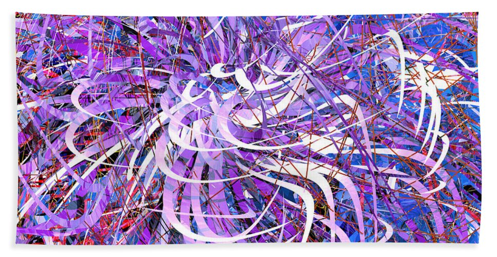 Abstract Beach Towel featuring the digital art Abstract Curvy 32 by Russell Kightley